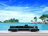 Oedim Fotomural Vinilo Pared Palmeras Isla Playa, Fotomural para Paredes, Vinilo Decorativo, Decoración comedores, Salones, Habitaciones.…
