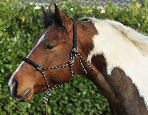 HKM Western Knotenhalfter, rund gepolstert an Nase und Genick, schwarz/beige, Pony