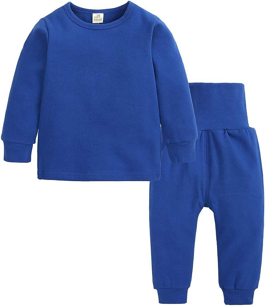 Kids Tales Little Boys&Girls 2 Pcs Solid Pajama Set Cotton Underwear Long Sleeve Sleepwear PJS