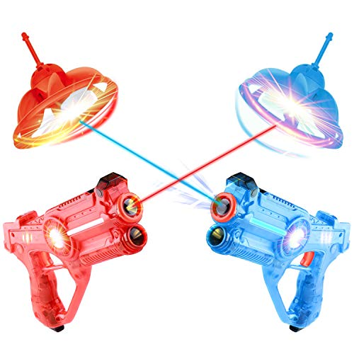 Laser Tag Guns and Drones Set of 2 for Kids, Fun Shooting Lazer Launchers Game for Boys with LED Effects, Sounds and 4 Gun Modes, Infrared Flying Toy Targets for 2 Players