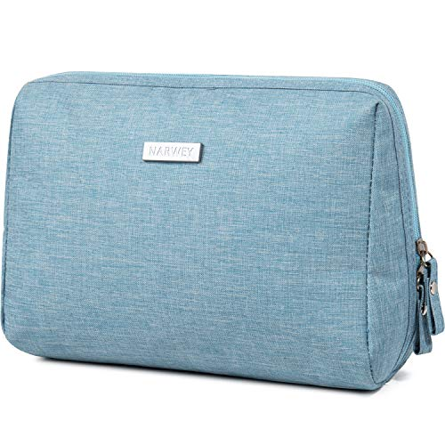 Large Makeup Bag Zipper Pouch Travel Cosmetic Organizer for Women and Girls (Large, Sky Blue)