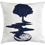 Ducan Lincoln Pillow Case 4 Stück 18X18 Zoll Compass Dekokissen Kissenbezug,Tree Tattoo Art River...