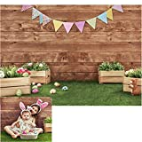 WOLADA 7X5ft Easter Backdrops for Photography Rabbit Colorful Eggs Backdrop Baby Shower Party Decoration Banner for Photo Studio Props 11469