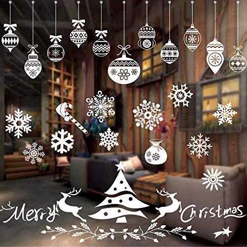Pegatinas Ventanas Navidad,Ventana Puerta Navidad Año Nuevo,Pegatinas de Ventana de Navidad Pegatinas Extraíbles,Pegatinas de Navidad Monigote,Navidad Pegatinas Ventana Decoracion