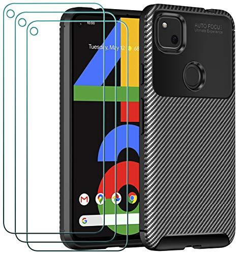 ivoler Case for Google Pixel 4A 4G + 3 Pack Tempered Glass Screen Protector, Carbon Fiber Design Shock Absorption Bumper Cover, Slim Soft Silicone Shockproof Phone Case - Black