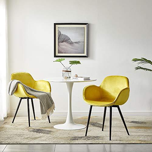 LeChamp 2er Set Samt Esszimmerstuhl Gelegenheitssessel mit Armlehnen & Rückenlehne Freizeitstuhl für Küche Lounge Schlafzimmer Wohnzimmer Akzentsessel mit gepolstertem weichem Sitz Gelb