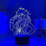 Lámpara de ilusión 3D LED, luz nocturna anime, figura de danganronpa, Nagito Komaeda para decoración de dormitorio infantil, luz de trineo para niños, regalo de cumpleaños para niñas y niños