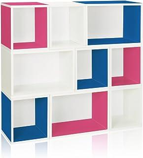 Way Basics Eco Stackable Oxford Modularer - Estantería para Libros y almacenaje, Color Azul, Rosa y Blanco, zBoard – Pizarra de Reciclaje, tamaño único