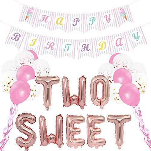 WERNNSAI Cumpleaños Suministros para la Fiesta - HeladoDecoraciones de Fiestapara Chicas InclusoFeliz CumpleañosBandera Dos Dulce Rosado Globos De Aluminio Mylar Globos de Confeti de Látex Cintas