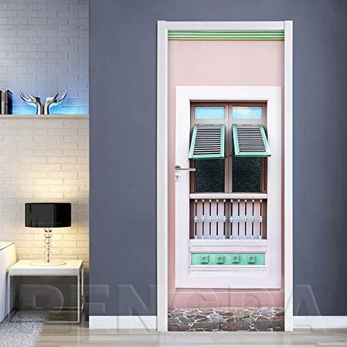 YMYGO 3D Türaufkleber Fensterideen Tür Aufkleber Wandtattoos Abnehmbare Wasserdichte Vinyl Aufkleber Für Wohnzimmer Schlafzimmer Badezimmer Home Decor Türtapete selbstklebend TürPoster 3D Bew 90x210cm
