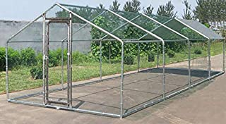 ChickenCoopOutlet Large Metal 26x10 ft Chicken Coop Backyard Hen House Cage Run Outdoor Cage