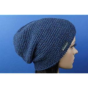 Beanie ICA Unisex 100% Baby-Alpaka blau heather Luxus-Mütze von siamo-handmade
