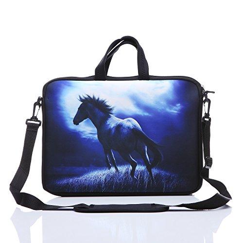 Yida Laptop-Umhängetasche und Tablet-Tasche für die meisten 9,7 Zoll / 25,4 cm / 10,1 Zoll / 25,7 cm / 10,2 Zoll iPad/Notebook/eBook-Leser blau Blaues Pferd 9.7Inch/10Inch/10.1Inch/10.2Inch
