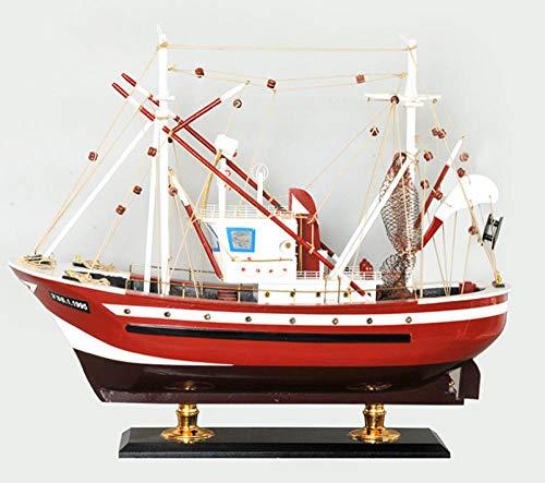 M & A Maqueta para adultos, 60 cm, madera, barco pescador, decoración hecha a mano, modelo de barco para hacer accesorios creativos para el hogar, regalos de madera y artesanía azul