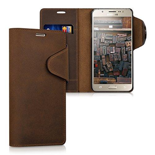 kalibri Samsung Galaxy J5 (2016) Hülle - Leder Handyhülle für Samsung Galaxy J5 (2016) - Braun - Handy Wallet Case Cover