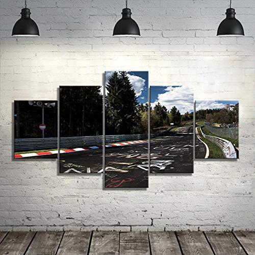 GTomorrow Bilder Wandbild Rallye-Straße Nürburgring 150X80Cm(B) Vlies Leinwand Bilder Wandbilder Wohnzimmer Wohnung Deko - 5 Teilig - Fertig Zum Aufhängen