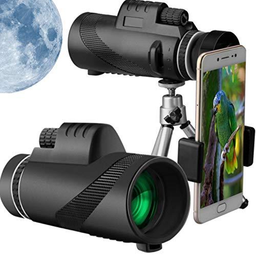 WHXJ Telescopio Monocular 40x60, 2021 Nuevo Telescopio Monocular con Zoom Súper Teleobjetivo, Monoculares de Largo Alcance, con Soporte para Teléfono y Trípode, Diseño de Lente de Prisma BAK4