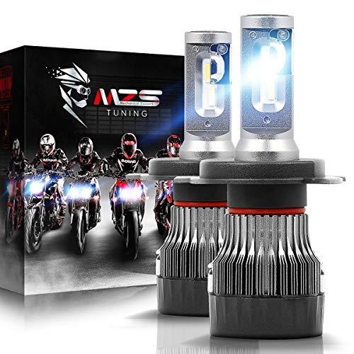 MZS Mini Lampadine H4 LED per Moto,10000LM 60W 6500K Fari Abbaglianti e Anabbaglianti Kit Sostituzione per Alogena Xenon Luci Lampada Bianco