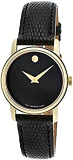 2100006 Womens Museum Gold Tone Stainless Steel Case Leather Strap Black Tone Dial Quartz