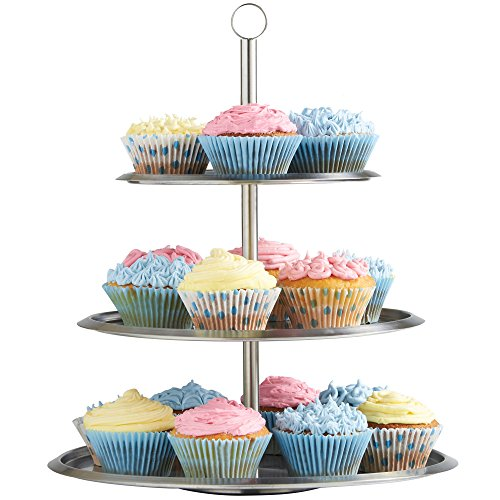 VonShef 3 Tier Cake Serving Stand Tray To Display Cakes, Cupcakes, Cookies, Tapas, Buffets, Perfect For Christmas Party Wedding Food Displays, Stainless Steel, 15 Inches Tall