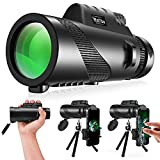 Monocular Telescope For Smartphone, Relybo 12X50 Monocular Telescope For Adults High Powered High Definition Handheld Portable With Smartphone Stand Tripod For Bird Watching Camping Travelling Hunting