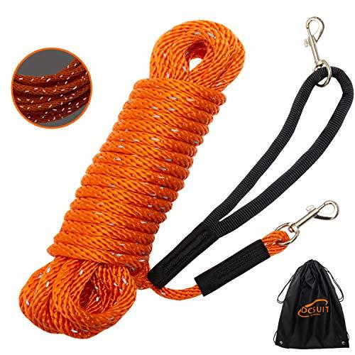 DCSUIT Hundetrainingsleine, langes Seil – 9 m und 15 m langes reflektierendes Nylon, strapazierfähige Hundeleine, Verlängerungsleine, ideal zum Spazierengehen / Spielen im Freien, einfache Kontrolle für kleine/mittelgroße/große Hunde, 30FT, Orange
