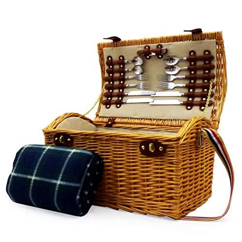 Fine Food Store Vimini da Picnic Basket 'Hadleigh' Ingredienti per 4 Persone di Accessori e Tradizionale Coperta da Picnic Verde - Regalo Perfetto per l'anniversario, Matrimonio, la Pensione