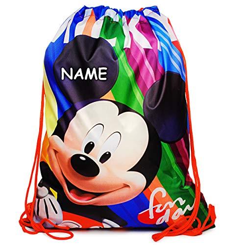 alles-meine.de GmbH 2 Stück _ Sportbeutel - Turnbeutel - Schuhbeutel - Disney - Mickey Mouse - inkl. Name - wasserabweisend abwischbar - für Kinder - Kinderbeutel / Schlafsack - ..