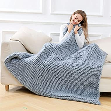 Winter Warm Hand Knitted Throw Blanket, Lotus.flower Chunky Blanket Thick Yarn Bulky Knitting Quilt (120x150cm, Gray)
