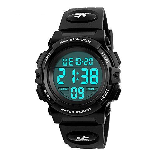 Skmei Wasserdichte Outdoor-Sportuhren, elektronische LED-Digital-Multifunktions-Armbanduhr für Mädchen und Kinder, mit Alarm-Hintergrundbeleuchtung (schwarz)
