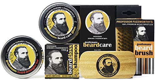 Professor Fuzzworthy Deluxe Beard Grooming Kit Gift Set for Men | 100% Natural Beard SHAMPOO Beard Balm & Beard Conditioner | Bass Beard Brush Boar Bristle | Organic Essential Plant Oils