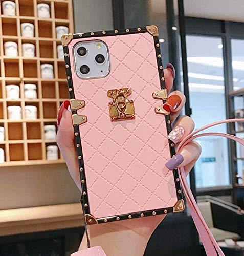 "iPhone 8 Plus / 7 Plus Grid Plaid Case 5.5"",SelliPhone Luxury Square Box Design Cute Slim Diamond Lattice Soft TPU Trunk Case Cover with Wrist Strap for Girls Women for iPhone 8/8s/7/7s Plus,Pink"