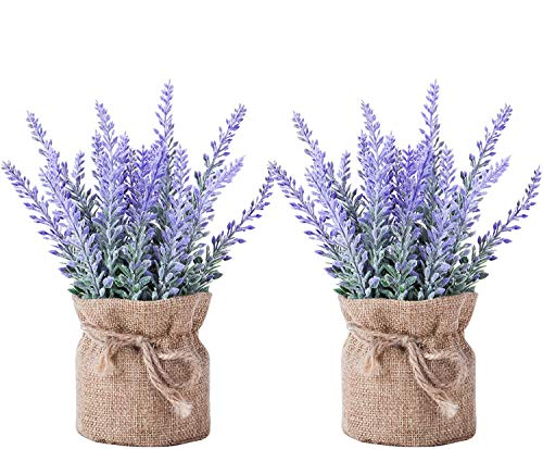 2 Pack Small Burlap Potted Lavender Flowers - Artificial Plants and Flocked Charming Purple for Warm...
