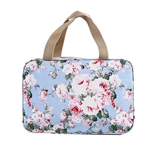 Flower Denim Pattern Square Sac à cosmétiques Compartment Travel Skin Care Zipper Bag Bleu