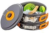 Mess Kit Non Melting Silicone Handles New Generation Anodized Non Stick Aluminum Pots-13 Piece...