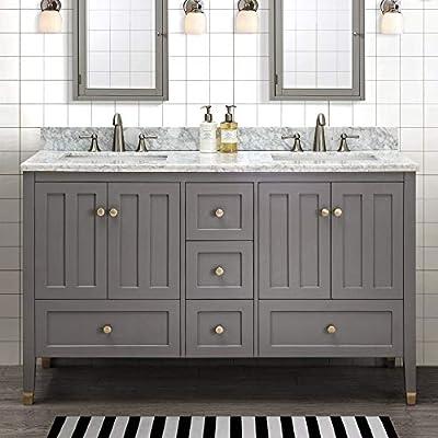 SJ Collection Aliyah 60 in. Shaker Style Double Sink Bathroom Vanity, Gray