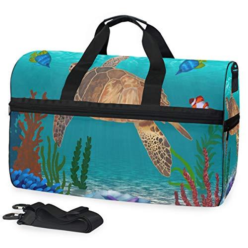 Hunihuni Bolsa de Lona para Viaje, Tortuga de Animales bajo el mar, Bolsa de Equipaje Ligera para Deporte, Gimnasio, con Compartimento para Zapatos para Mujeres y Hombres