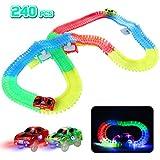 Circuit Lumineux Voiture Enfant Jouet Magique 240 Pièces Flexible Circuits Voitures Électrique Magnetique pour Enfants Garçons et Filles 3 4 5 6 Ans