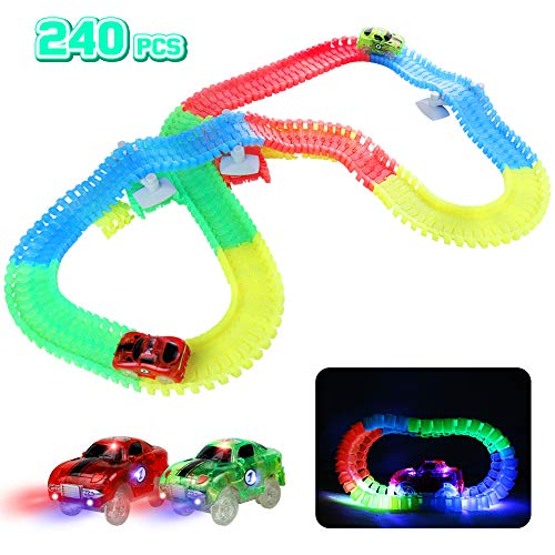 Circuit Lumineux Voiture Enfant Jouet Magique 240 Pièces Flexible Circuits Voitures...