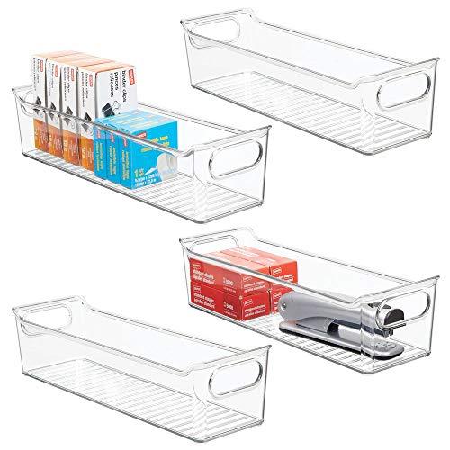 mDesign 4er-Set Aufbewahrungsbox mit integrierten Griffen – zur Aufbewahrung von Küchen-, Badezimmer- oder Büroutensilien – Kunststoffbox für die Schreibtischablage – durchsichtig