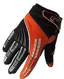 Qtech - Guanti da Motocross Adulto per Trials Enduro BMX - Fuori Strada Motorcross - Arancione - M (ca. 9 cm)