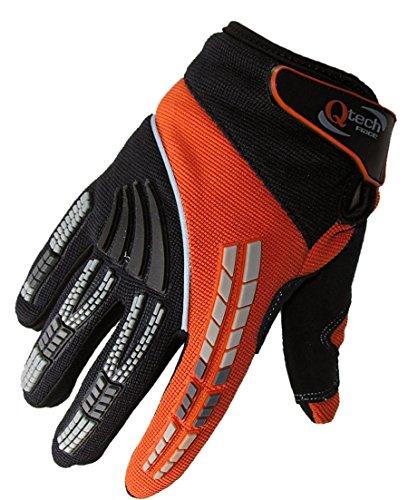 guanti trial Qtech - Guanti da Motocross Adulto per Trials Enduro BMX - Fuori Strada Motorcross - Arancione - M (ca. 9 cm)