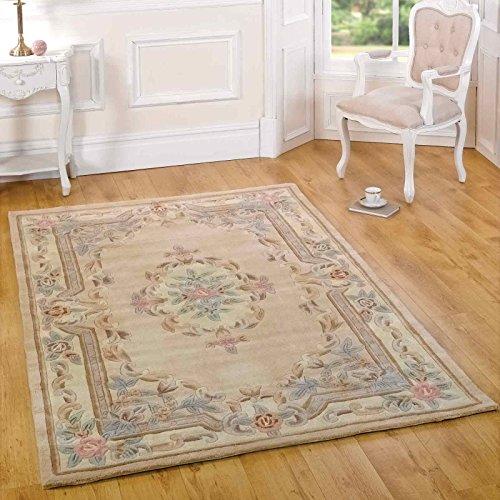 Flair Rugs Teppich - Lotus Premium - Aubusson 224 Beige - 100% Wollteppich - 120cm x 180cm (4' x 5'11, 100% Wolle, Beige