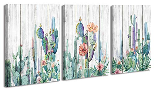 Mexico Cactus Wall Art Picture Watercolor Painting Room Decor for Bedroom Living Room Office Home Wall Decorations, Aesthetic Tropical Green Plants on Wood Background Flowers Posters Murals Canvas Prints Artwork 12'x16'