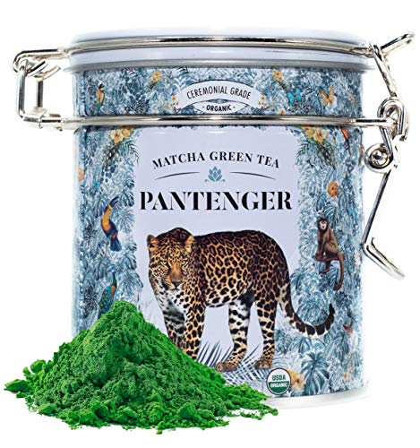 Pantenger Matcha Green Tea Powder Ceremonial Grade by Leopard LLC is the highest grade of matcha available in Japan and is used for the Japanese Tea Ceremony. It is organically grown in Kagoshima Prefecture by a ninth-generation family-owned tea esta...