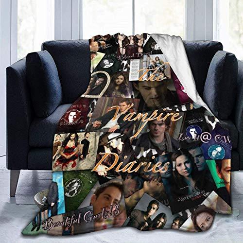 Team Damon Stefan Salvatore - Manta de vampiro para diario de vampiro de televisión, vampiro Elena Damon Stefan Love Triangle Collage Manta de forro idea de regalo para decoración del hogar, 50 x 40