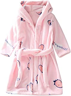 WUAI Kids Pajamas Toddler Boys Girls Plush Fleece Bathrobes Hoodie Fleece Robe Winter Sleepwear