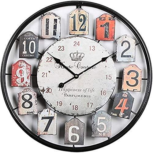 dh-2 Reloj de Pared Marco de Metal Reloj de Pared Grande Silencioso Reloj de Pared Silencioso Reloj Vintage sin Sonidos de Garrapatas para Cocina y Dormitorio Wohnzimme Negro 50Cm