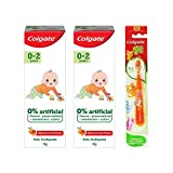 Colgate Toothpaste for Kids (0-2 Years) Natural Fruit Flavour, 0% Artificial - 70 g (Pack of 2) with Kid's Extra Soft Toothbrush (0-2 Years)