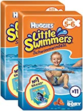 Huggies Little Swimmers - Pañales para nadar, talla 5/6 (12-18 kg), 11 unidades, pack de 2 x 11 uds. (Total 22 uds)